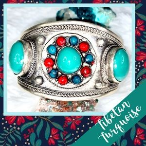 Turquoise & Coral Tibetan Silver Cuff NWOT